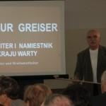 Wacław Majchrzak podczas wykładu na temat A. Greisera